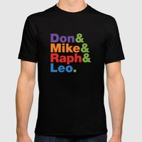Don & Mike & Raph & Leo. Mens Fitted Tee Black SMALL
