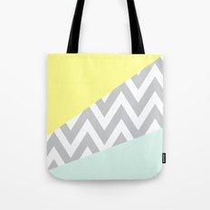 Mint & Yellow Chevron Color Block Tote Bag