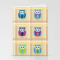 Plaid Owls Stationery Cards