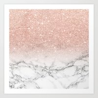 Modern faux rose pink glitter ombre white marble Art Print