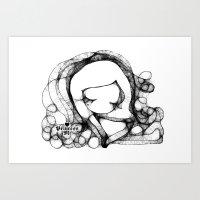doodle girl illustration  Art Print