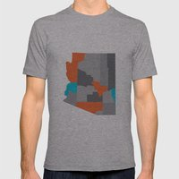 Arizona State Map Print Mens Fitted Tee Athletic Grey SMALL