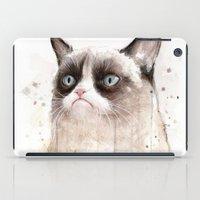 Grumpy Watercolor Cat II iPad Case