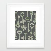 Skeleton Key Pattern in Gray Framed Art Print