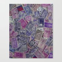 Vintage Postage Stamp Collection - Purple Canvas Print