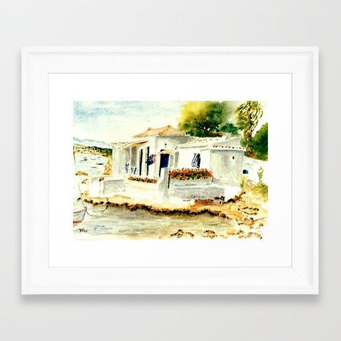 White house on the beach framed art print by vargamari for Beach house prints
