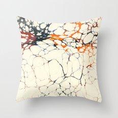 Marble Cream Blue / Orange Square # 1 Throw Pillow