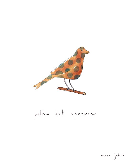 polka dot sparrow Art Print