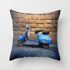 Blue Vespa, Italy Throw Pillow