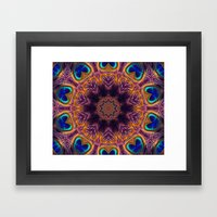 Peacock Fan Star Abstract Framed Art Print