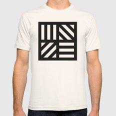 B/W striped window pattern Mens Fitted Tee Natural SMALL