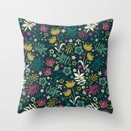 Midnight Florals (pop) Throw Pillow