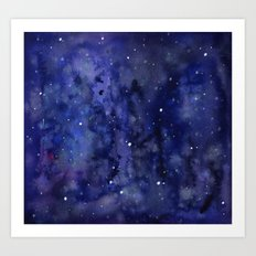Night Sky Galaxy Stars | Watercolor Space Texture Art Print