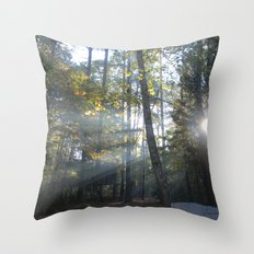 Sun Peaking through Woods. Throw Pillow