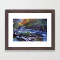Mountain river. After raining. Night photography. Framed Art Print