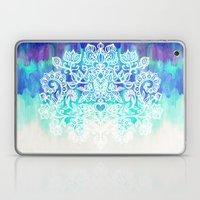 Indigo & Aqua Abstract - doodle painting Laptop & iPad Skin