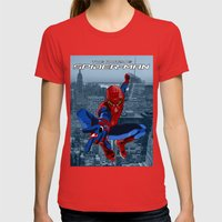 Amazing Spider-Man (Film Title) Womens Fitted Tee Red SMALL