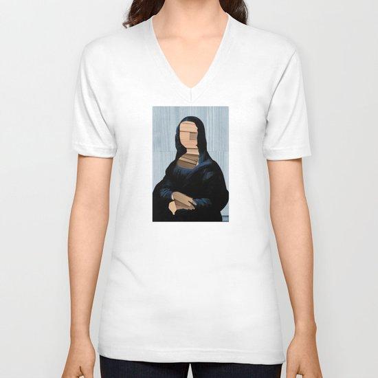 Mona Lisa - blue shining WoodCut Collage V-neck T-shirt