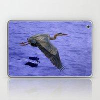 Great blue heron in fly Laptop & iPad Skin