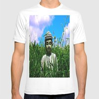 Buddha Looks Through Gra… Mens Fitted Tee White SMALL