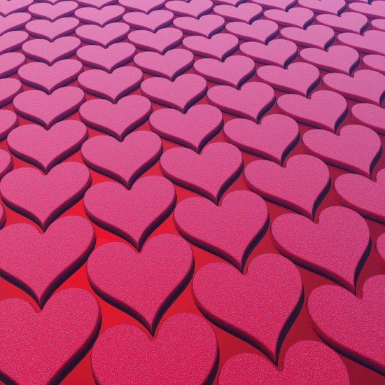Textured 3D Heart Pattern Art Print