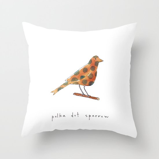 polka dot sparrow Throw Pillow