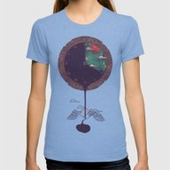 Night Falls Womens Fitted Tee Tri-Blue LARGE