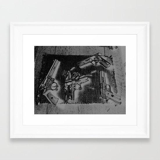 Gloomy Grimy Grey Guns Framed Art Print
