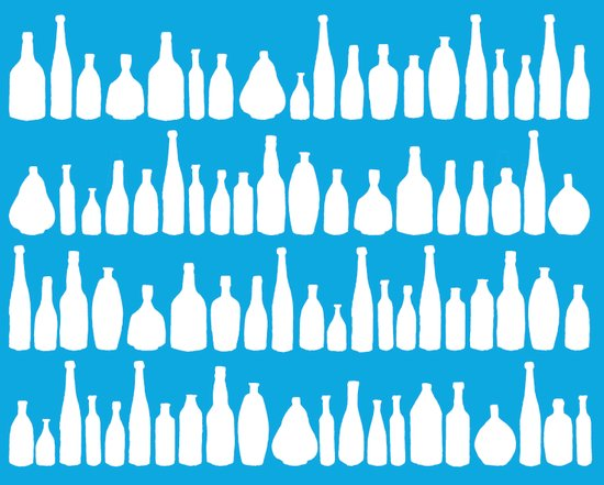 Bottles Blue Art Print
