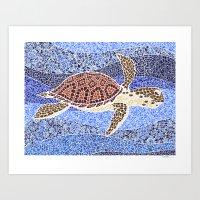 sea turtle: unity through collage Art Print