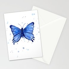 Butterfly Watercolor Blue Painting Stationery Cards