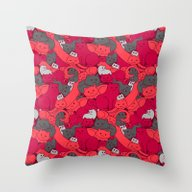 Purrrfect Pattern (Red) Throw Pillow