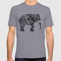 Endangered elephant - yellow Mens Fitted Tee Slate SMALL