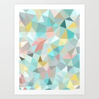 pastel Art Prints featuring Pastel Tris by Beth Thompson