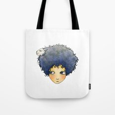 the girl with lamb hair Tote Bag