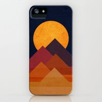 iPhone Cases featuring Full moon and pyramid by Budi Kwan