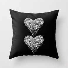 two sparkling hearts Throw Pillow