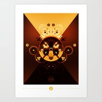 Ying-Yang Gold Cross Ver… Art Print