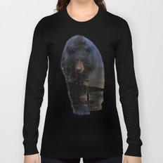 Animal Tracks - Black Bear in Snow Long Sleeve T-shirt