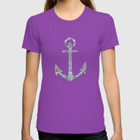 Tribal Anchor and Chevron  Womens Fitted Tee Ultraviolet SMALL