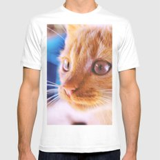 Orange cat White Mens Fitted Tee SMALL