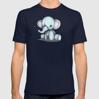 Elephant and Bee Plushie Mens Fitted Tee Navy SMALL