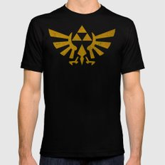 Zelda Golden Hylian Crest SMALL Mens Fitted Tee Black