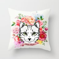 Throw Pillow featuring Meow Meow by Juliana Zimmermann