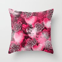 Light Bulb Hearts Series (red) Throw Pillow