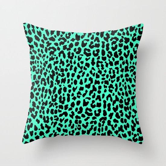 Neon Mint Leopard Throw Pillow