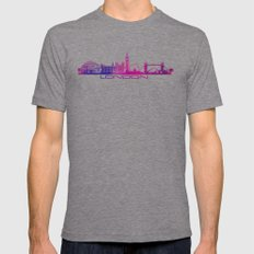 London Skyline City Pink Mens Fitted Tee Tri-Grey SMALL