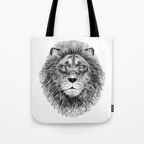 Black+White Lion Tote Bag