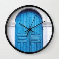 Vibrant Blue Greek Door … Wall Clock