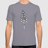 Polka Dotted Feather Mens Fitted Tee Slate SMALL